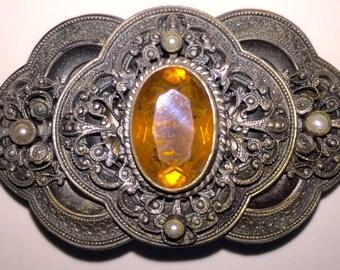 Victorian Citrine Brooch Sash Pin, Vintage Citrine Glass Pin, Authentic Victoriana Steampunk STUNNING!