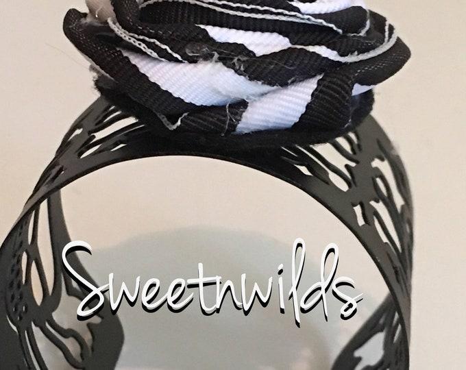 Skull Spider Cuff- Black & White  Bracelet-Goth-READY TO SHIP-Metal-Shabby Flower- Rolled rose-Shabby Chic