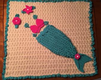 Crochet Baby Mermaid Tail Set with Blanket, Photo Prop, Costume, Baby Gift, Cocoon, Keepsake