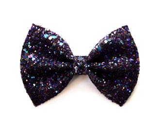 Purple Glitter Bow Adorable Photo Prop Pictures Headband for Newborn Baby Little Girl Child Adult Holiday Fall Christmas Clip