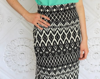Black and Cream Ikat Ethnic  Aztec Knit High Waisted or Normal Waistband  Pencil Skirt for Women
