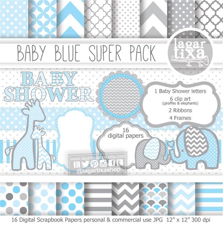 Fondos Papel Digital Azul Celeste Baby Blue y Gris elefante jirafa ...