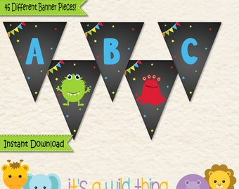 Monster Birthday Banner • First Birthday • Toddler Birthday •Monster Birthday Bash Party • Alphabet Banner • Monster Party • 039a