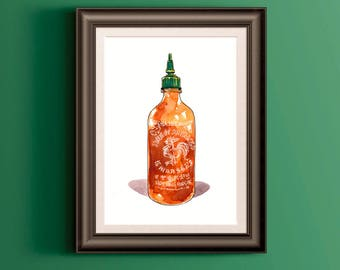Sriracha Hot Sauce Watercolor Painting, Kitchen Wall Art, Digital Print