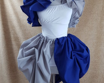 Witch Wizard Blue And Gray Knee Length Tie On Bustle Skirt-One Size Fits All