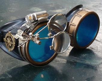 Victorian Steampunk goggles aviator victorian welding biker eye cup-- gcg blue lens
