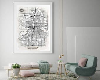 Grand rapids map Etsy