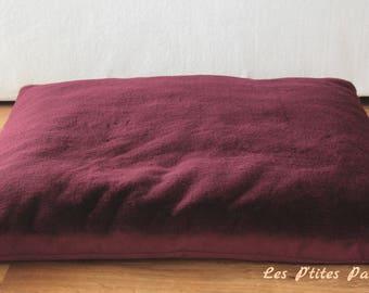 Grand coussin pour chien, fausse fourrure prune et tissu rosé