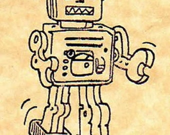 Retro Toy Robot Rubber Stamp
