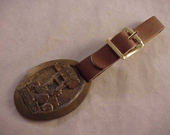 Euclid Pivot Steer Loaders Advertising Watch Fob With Brown Leather Strap