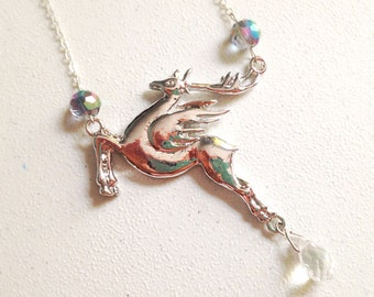 Pegasus Necklace. Silver Winged Horse. Mystical. Magic. Long Necklace. Fantasy. Silver Chain. Teardrop Crystal. Blue Glass Beads. Under 20.