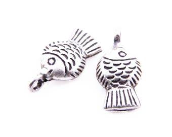 Thai Karen Hill Tribe Silver,Puffed Fish Shaped Karen Hill Tribe Handmade Charms,Charms,Karen Silver- KSC0036