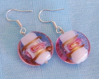 Pink Lampworked Glass and sterling silver Earrings