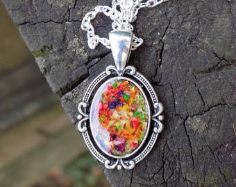 Real Flower Pendant Necklace, Silver Necklace, Charm, Jewelry, Women, Accessory, Terrarium, Pressed Flowers, Boho, Bohemian, Victorian Style