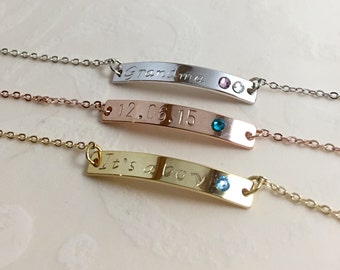 Birthstone Bracelet, Personalized Bracelet, Personalized Jewelry, Bar Bracelet, Bridesmaid Bracelet, Bridesmaid Jewelry, Handmade Bracelet
