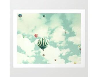 Hot air balloon nursery, canvas art, nursery wall art boy, mint decor, mint wall art, mint nursery decor, nursery wall art, large wall