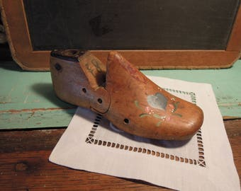 Vintage Child's Shoe Form / Hand Painted Wooden Shoe Tree / Wood Shoe Stretcher / Vintage Child Shoe Mold