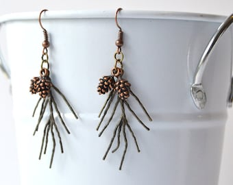 Pine Tree Earrings with Copper Pine Cones, Nature Jewelry