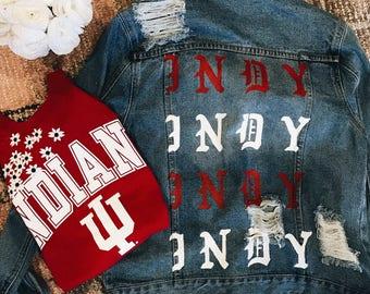 Indiana University Hand Painted Denim Jacket