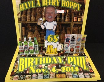 Beer Lover: Personalized Birthday Pop Up Card
