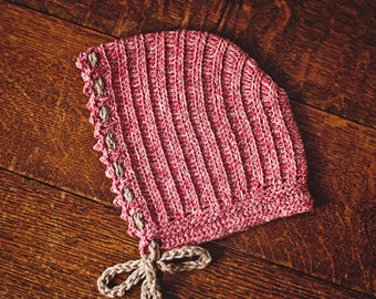 Crochet hat PATTERN - Knit-look Bonnet (sizes 0-3 and 6-12months)