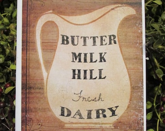 Butter Milk Primitive Greeting Card - FREE SHIPPING
