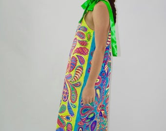 Hand Painted Paisley Maxi Dress