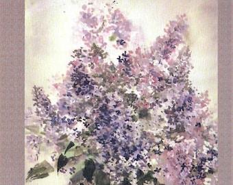 Lilac. Sumi-E posrcard