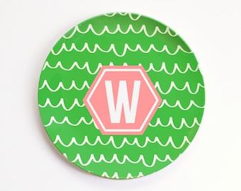 Personalized Plates for Kids Monogram Melamine Plate Custom Child's Plate Kids Outdoor Dinnerware Birthday Plate ThermoSāf ® Polymer Plate