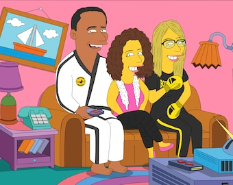 draw my family, gifts for men, 20th birthday, 35th Anniversary, couple illustration, lawyer gifts, 10 year anniversary, the simpsons