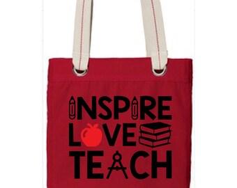 Inspire Love Teach Teacher Tote, Personalized Tote, Teacher Gift, Teacher Bag, Teacher Appreciation