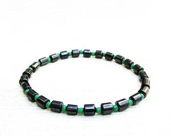 Simple bracelet, Hematite bracelet, Crystal balance protection bracelet,Stretch bracelet,Gift for her,Simple beauty,Green bracelet,Christmas