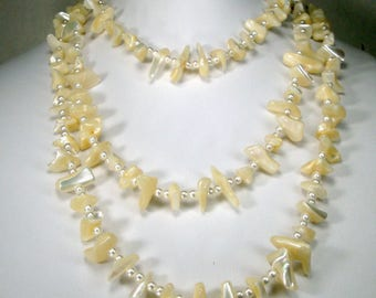 Mother of Pearl 5 Foot Long Necklace, White  Luminescent Sea Shell Shards & White Pearl Spacers, 1960s Beads, Resort Beach MOP Mermaid