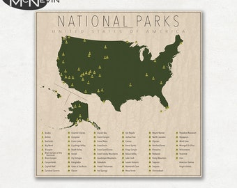 National Parks Map Vintage style America Map hiking art