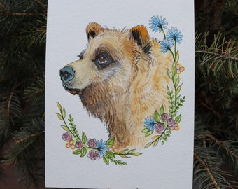 Beautiful Watercolor Brown Bear in the flowers