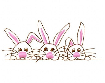 3 Bunnies Outline Embroidery Design - Instant Download