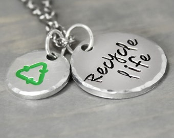 Recycle Life Necklace, Organ Donation Jewelry, Transplant Jewelry, Charitable Donation Jewelry, Donation Pieces Handstamped Jewelry, Recycle