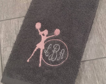 Cheer Monogrammed Sweat Towel, Gym Towel, Cheerleading, Embroidered Hand Towel
