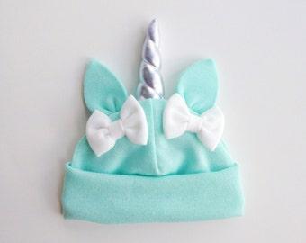 Mint Baby Unicorn Hat