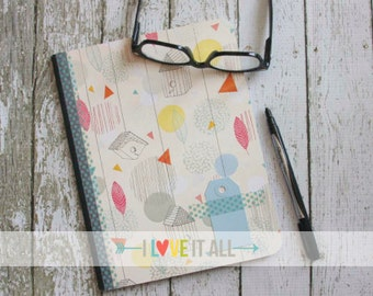 Dream Journal . Altered Composition Notebook . Diary Planner Mixed Media . Washi Tape Polka Dots Leaves Birdhouse . Scrapbook