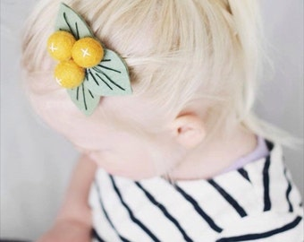 Citrus Felt Flower Headband or Citrus Felt Flower Hair Clip Baby Headband Toddler Hair Clip