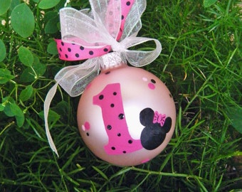 Minnie Mouse Ornament - Personalized Baby's First Birthday - Hand Painted Glass Christmas Ornament, Disney Birthday, Disneyland Vacation
