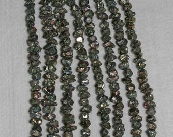 AB Pyrite, AB Rough Pyrite, AB Pyrite Nugget, Rough Pyrite Nugget, Natural Stone, Natural Pyrite, Full Strand, 6-7mm, AdrianasBeads