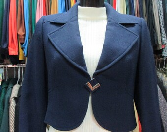 Bolero anni 60.Crespo di lana blu/Alta moda/Tg.42-44/60s crepe blu cropped jacket/Fine closure/ Clear stitchings/Haute couture/Size 8-10US
