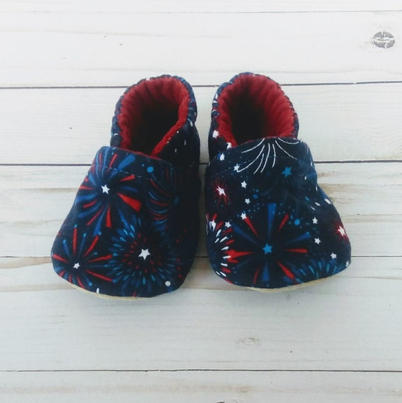 4th of July Fireworks: Soft Sole Baby Shoes 6-12M