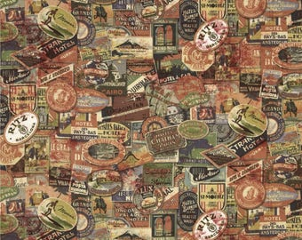 Vintage Travel Labels Fabric - Tim Holtz Eclectic Elements Vintage Inspired Neutral Travel Labels 100% Cotton Fabric