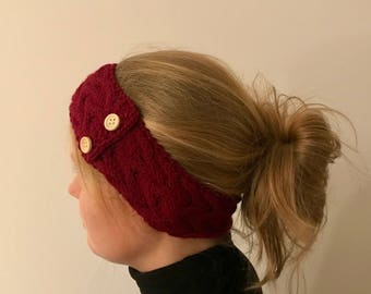 "Headband ""Cristabella"" with braided pattern and buttons in red made of polyacrylic-vegan"