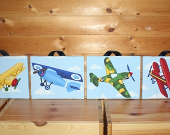 Set of 4 Up Up and Away Little Airplane Baby Boy Nursery 8x10 Art on Stretched CANVAS