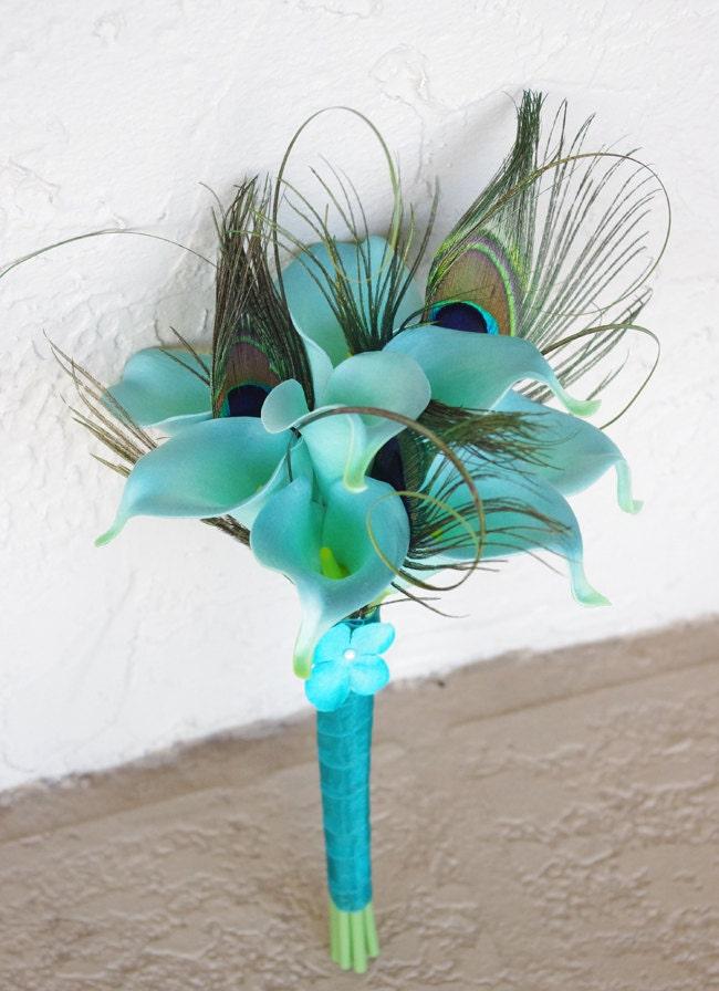 Turquoise Aqua Mint Wedding Flower Bouquet Peacock Feathers