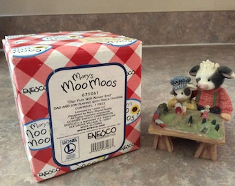 """Mary's Moo Moos """"Our Fun Will Never End"""" Dad and Son Playing with Track Figurine Enesco #671061."""